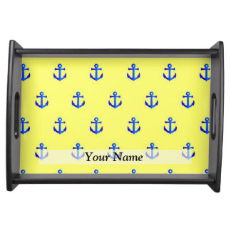 Yellow anchor pattern serving tray
