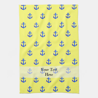 Yellow anchor pattern tea towel