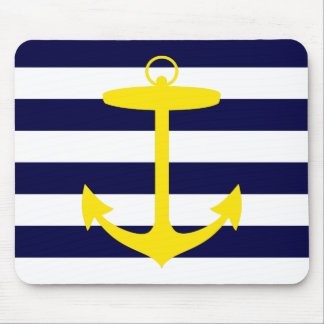 Yellow Anchor Silhouette Mouse Mat