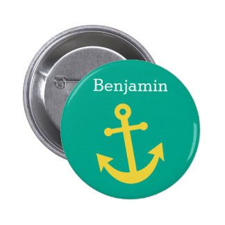 Yellow Anchor with Custom Name - Emerald 6 Cm Round Badge