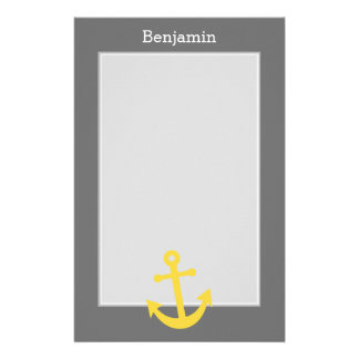 Yellow Anchor with Custom Name - Gray Stationery