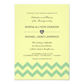 Yellow and Aqua Chevron Wedding Invitations