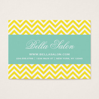 Yellow and Aqua Modern Chevron Stripes Business Card