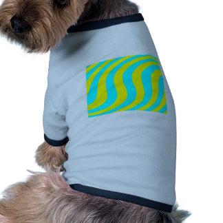 Yellow And Aqua Swirled Stripes Doggie T Shirt