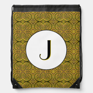 Yellow And Black Abstract Pattern Monogrammed Drawstring Bag