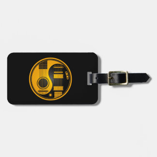 Yellow and Black Acoustic Electric Guitars Yin Yan Luggage Tag