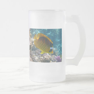 Yellow and Black Angel Fish Glass Frosted Glass Beer Mug
