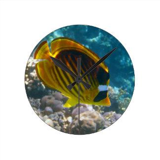 Yellow and Black Angel Fish Round Clock