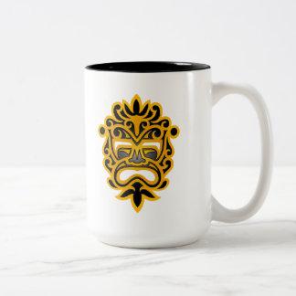 Yellow and Black Aztec Mask Two-Tone Mug