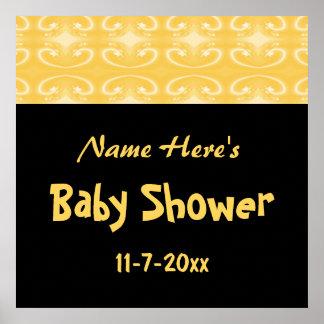 Yellow and Black Baby Shower Print