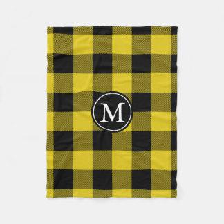 Yellow and Black Buffalo Check Monogram Fleece Blanket