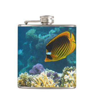 Yellow and Black Butterfly Fish Hip Flask