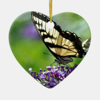 Yellow and Black Butterfly on Lavender Christmas Ornament