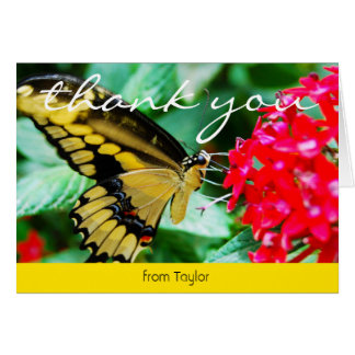 Yellow and black butterfly photo thank you card