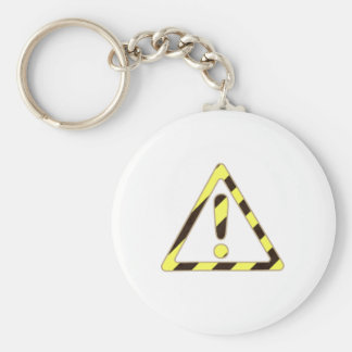 Yellow and Black Caution Sign Triangle Exclamation Basic Round Button Key Ring