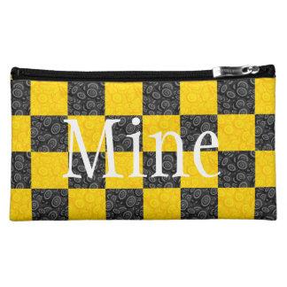 Yellow and Black Checker Makeup Bags