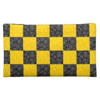 Yellow and Black Checker Makeup Bag