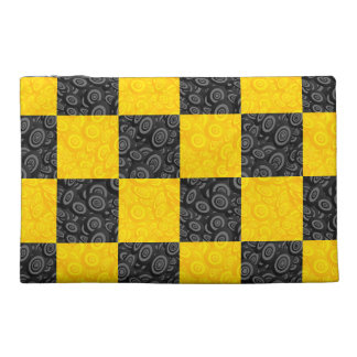 Yellow and Black Checker Travel Accessories Bags