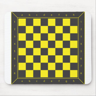 Yellow and Black Chess Table Mouse Mat