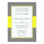 Yellow and Black Chevron Wedding Invitations