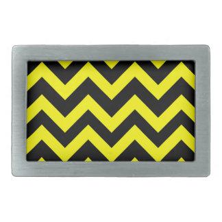 Yellow And Black Chevrons Rectangular Belt Buckles