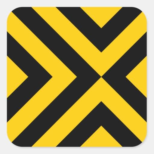 Yellow and Black Chevrons Square Sticker