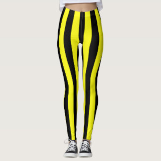 Yellow and Black Coloured striped pattern Leggings