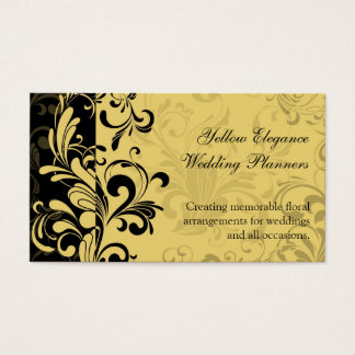 Yellow and Black Contemporary Swirl Business Card