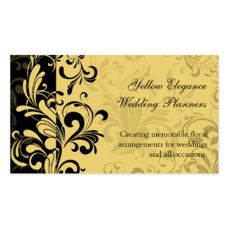 Yellow and Black Contemporary Swirl Pack Of Standard Business Cards