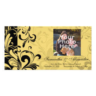 Yellow and Black Contemporary Swirl Picture Card