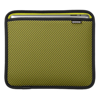 Yellow and Black Diagonal Stripes iPad Sleeve