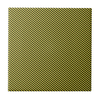 Yellow and Black Diagonal Stripes Tile