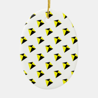 Yellow and Black Diamond Kites Pattern Christmas Ornament