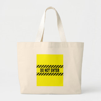 Yellow And Black Do Not Enter Sign Large Tote Bag