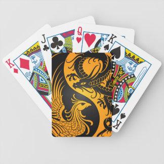Yellow and Black Dragon Phoenix Yin Yang Poker Deck