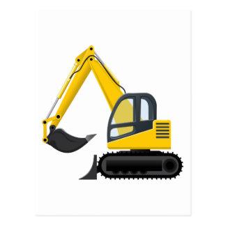 Yellow and Black Excavator Construction Machine Postcard