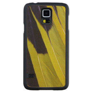 Yellow And Black Feather Abstract Carved Maple Galaxy S5 Case
