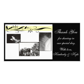 Yellow and black floral Wedding Thank you card Customised Photo Card