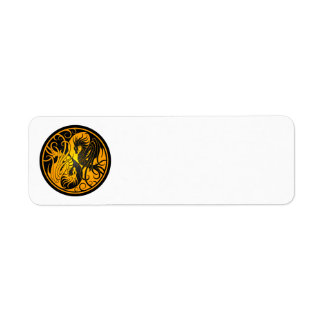Yellow and Black Flying Yin Yang Dragons Return Address Label