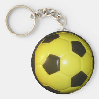 Yellow and black Football. Basic Round Button Key Ring