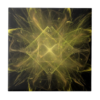 Yellow And Black Fractal Tile