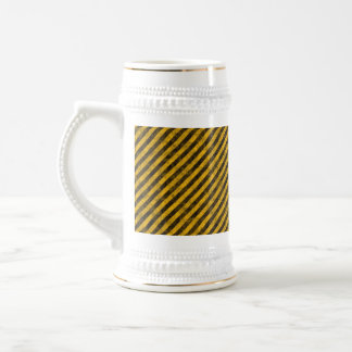Yellow and Black Hazard Stripes Texture Beer Steins