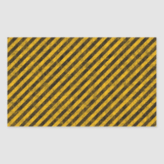 Yellow and Black Hazard Stripes Texture Rectangular Sticker