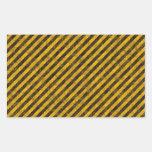 Yellow and Black Hazard Stripes Texture Rectangular Sticker