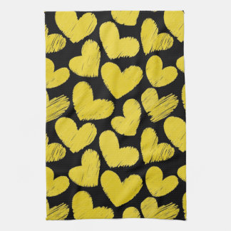 Yellow and black Hearts Kitchen Towel