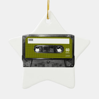 Yellow and Black Houndstooth Label Cassette Ceramic Star Decoration