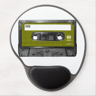 Yellow and Black Houndstooth Label Cassette Gel Mouse Pad