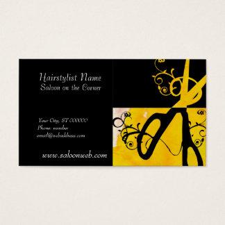 Yellow and Black Magic Scissors HairStylist Salon Business Card