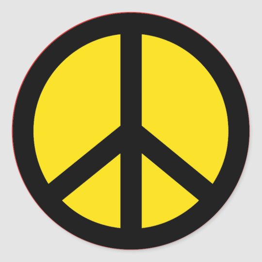 YELLOW AND BLACK PEACE SIGN STICKER