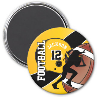 Yellow and Black Personalize Football Magnet